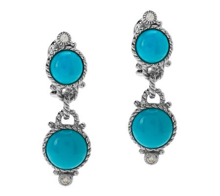 Judith Ripka Sterling Turquoise Double Drop Cabochon Earrin