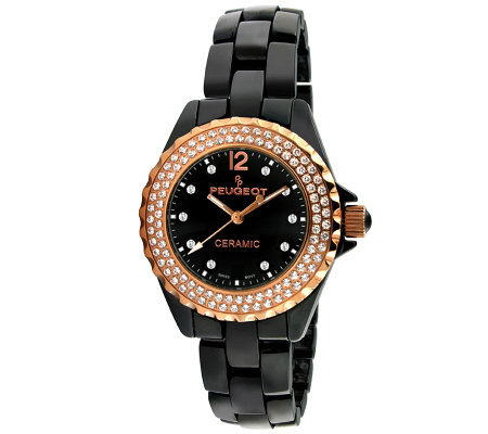 Peugeot Women's Swiss Swarovski Crystal Round Case Watch