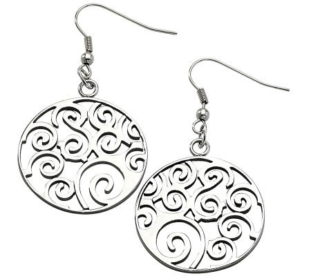 Stainless Steel Filigree Swirl Dangle Earrings