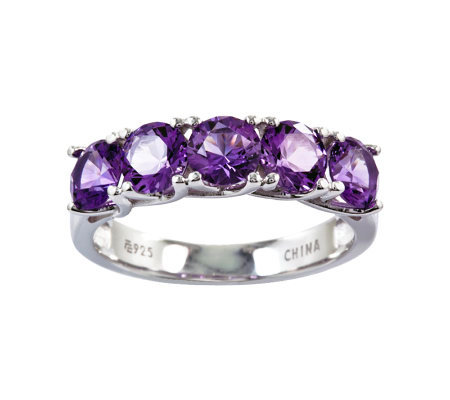 Sterling 2.20 cttw Amethyst 5-Stone Ring