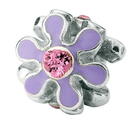 Prerogatives Sterling Purple Flower w/ Swarovski Crystal Bead