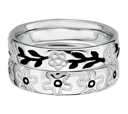 Simply Stacks Sterling Black & White Floral Ring Set