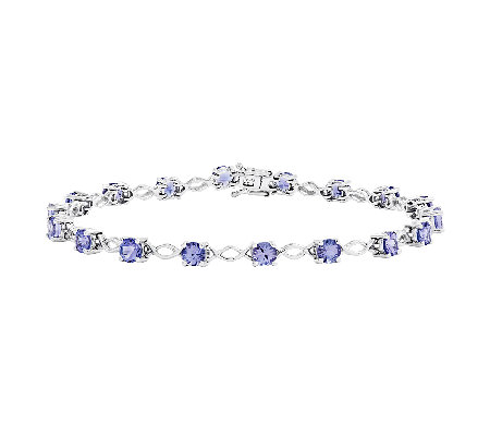 "4.25 cttw 7"" Tanzanite Bracelet, 14K White Gold"