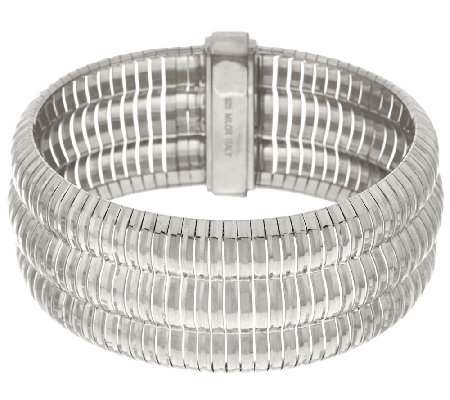 "Vicenza Silver Sterling 7-1/4"" Triple Row Omega Bracelet 42.3g"