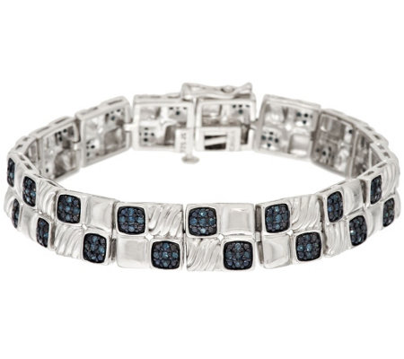Blue Pave' Cushion Diamond Tennis Bracelet Sterling,8/10ct tw, by Affinity