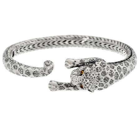 Jai Sterling Silver Leopard Hinged Cuff Bracelet 31 6g