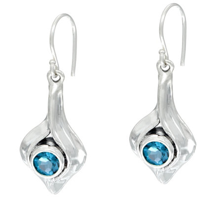 Hagit Sterling Silver Gemstone Dangle Earrings