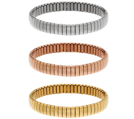 """As Is"" Stainless Steel S/3 Polished Stretch Bracelets"