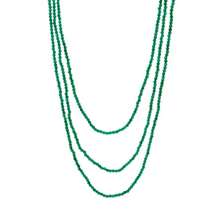 "JAI Sterling Silver 72"" Green Agate Bead Necklace"