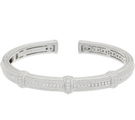 Judith Ripka Sterling Silver Diamonique Beaded Cuff
