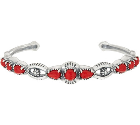 """As Is"" American West Luna Gemstone Sterling Silver Cuff Bracelet"