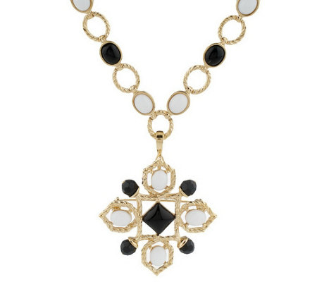 """As Is"" Lux Rachel Zoe Cabochon Link Necklace with Pin & Enhancer"
