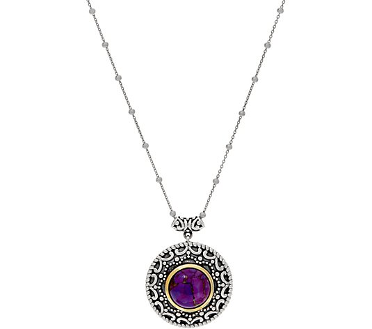 Artisan Crafted Sterling Silver Round Gemstone Pendant w/ Chain
