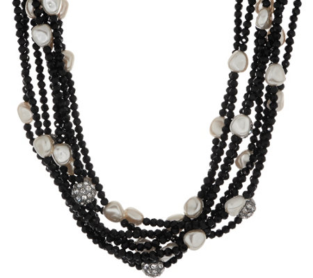 "Linea by Louis Dell'Olio 8-Row Crystal Simulated Pearl 20"" Necklace"