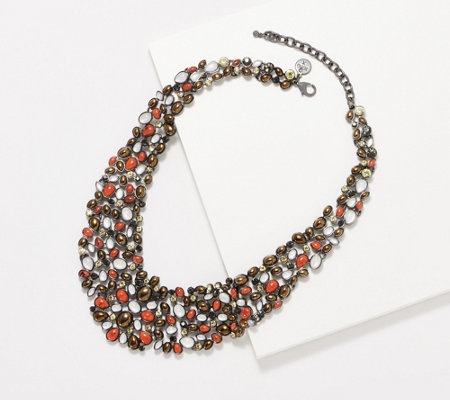 LOGO Links Lavish Legacy Pebble Bib Necklace