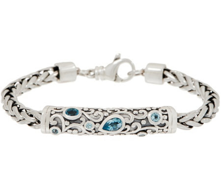 """As Is"" Or Paz Sterling Silver Gemstone Accent 21.0g Spiga Bracelet"
