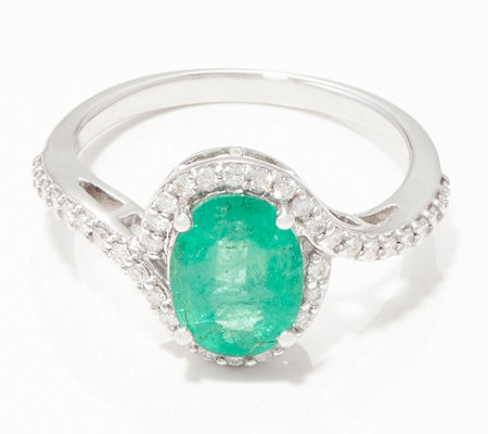 Zambian Emerald & Diamond 14K Gold Ring, 1.15 cttw