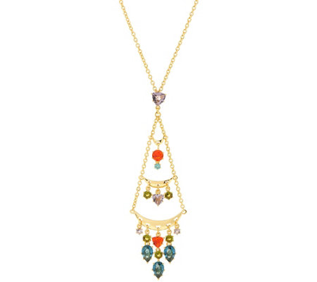 As Is Pina Colada Chandelier Crystal Pendant Necklace