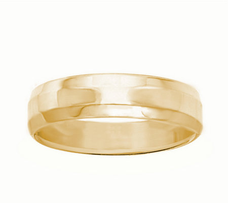 Women's 14K Yellow Gold 4mm Beveled Side Wedding Band