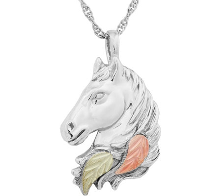 Black Hills Horse Pendant with Chain Sterling/12K Gold