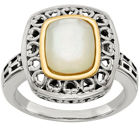 Sterling & 14K White Mother of Pearl Ring