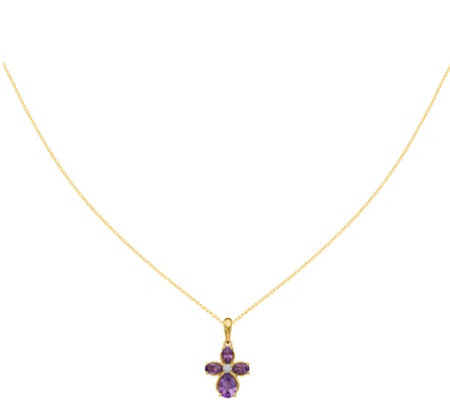 "14K Flower Gemstone & Diamond Pendant with 18""Chain"