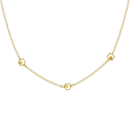 Italian Gold Petite Flower Necklace 14K, 2.2g