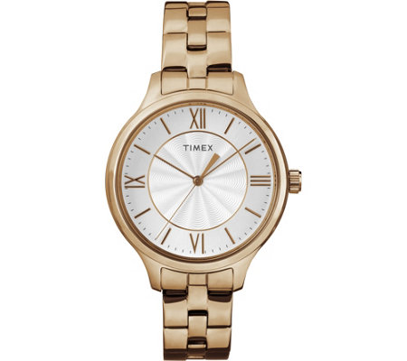 Timex Women S Peyton Rosetone Stainless Steel Bracelet Watch