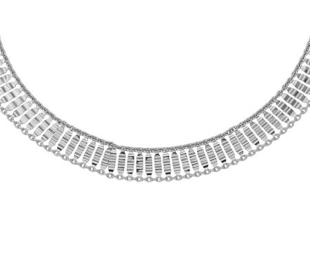 Italian Silver Scale Link Choker Necklace Sterling, 7.5g