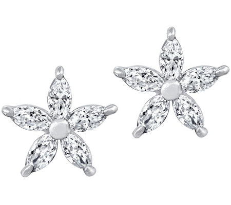 Diamonique Floral Stud Earrings, Platinum Plated
