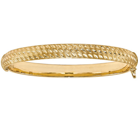 Italian Gold Diamond Cut Hinged Bangle 14K, 7.6g