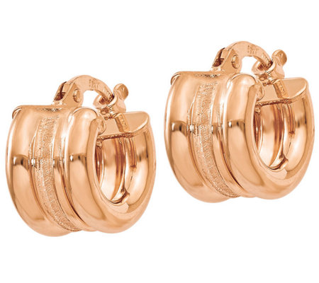 Italian Gold Polished & Texture Petite Hoop Earrings 14K