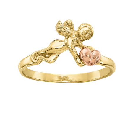 14K Gold Two-Tone Angel Ring