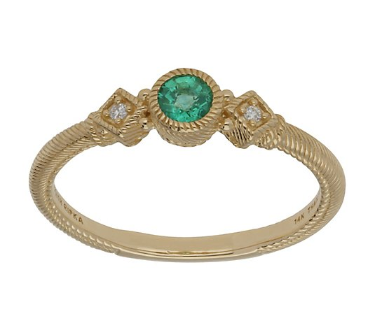 Judith Ripka 14K Gold Zambian Emerald and Diamond Ring