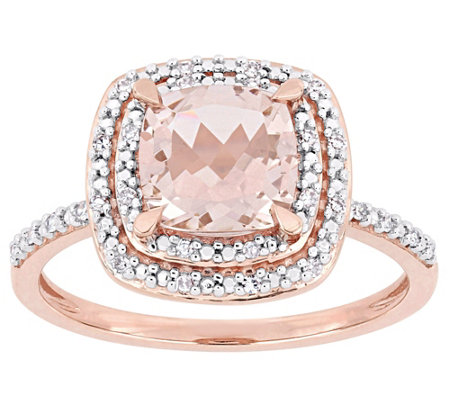 14K Gold 1.65 cttw Cushion-Cut Morganite & Diamond Halo Ring
