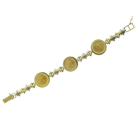 14k 22k Gold 6 3 4 Two Tone Three Liberty Coinbracelet