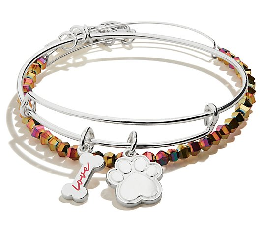 Alex and Ani Dog Bone and Paw Set of 2 Bangles