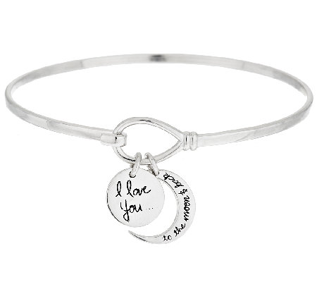 I Love You To The Moon Back Sterling Charm Bangle