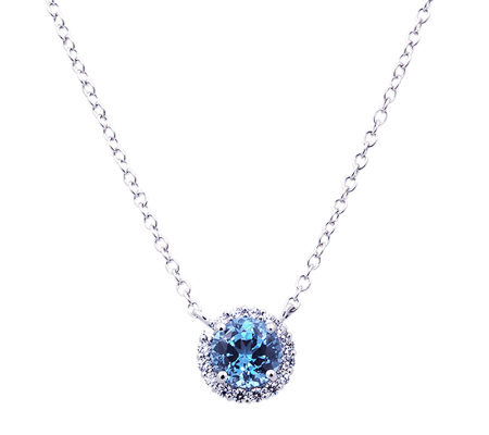 Diamonique 100-Facet Halo Pendant w/ Chain Platinum Clad