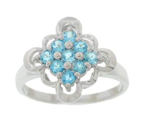 Sterling 0.50 ct tw Blue Topaz Scalloped-Edge Ring