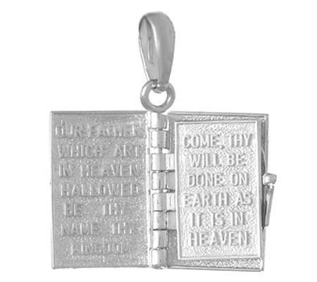 """Lord's Prayer"" Book Pendant Sterling/14K Gold"