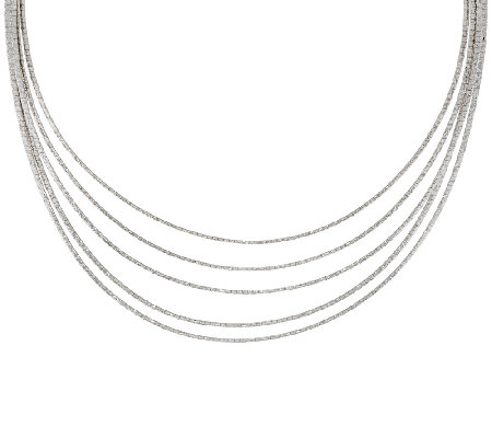 "Italian Silver Sterling 16"" Multi-Strand Omega Necklace, 44.1g"