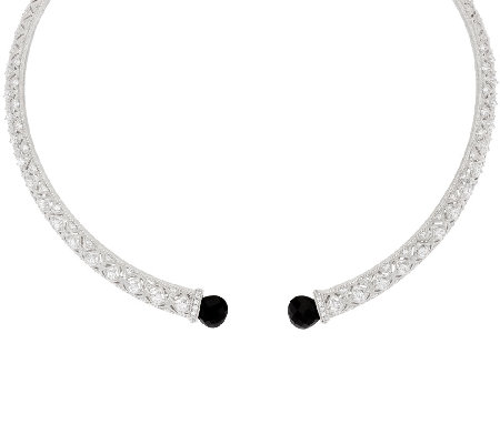 Judith Ripka Sterling Onyx & Diamonique Collar Necklace