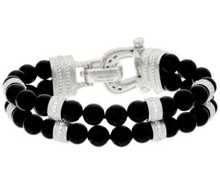 Judith Ripka Sterling Average Gemstone Bead Bracelet