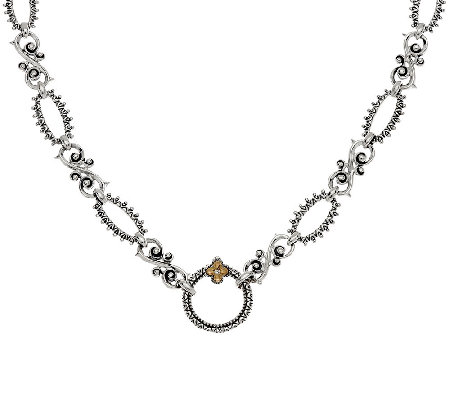 "Barbara Bixby Sterling & 18K 22"" Textured Link Necklace"