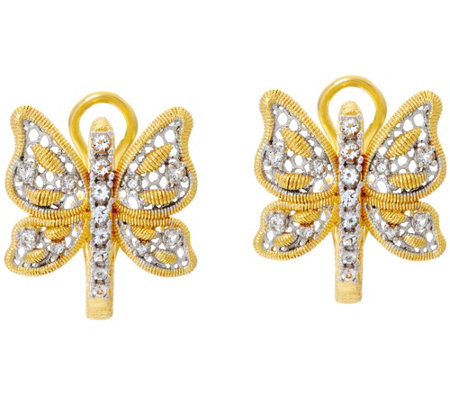 Genesi 18K Clad Butterfly Omega Back Earrings