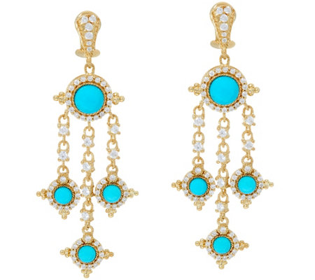 Judith Ripka 14K Clad Turquoise Diamonique Drop Earrings