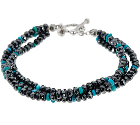 Sterling Silver Turquoise & Hematite Bead Bracelet by American West