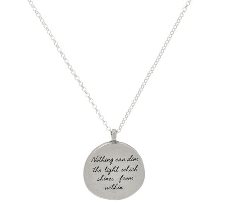 "Maya Angelou ""The Light"" Sterling Quote Pendant by Dogeared"