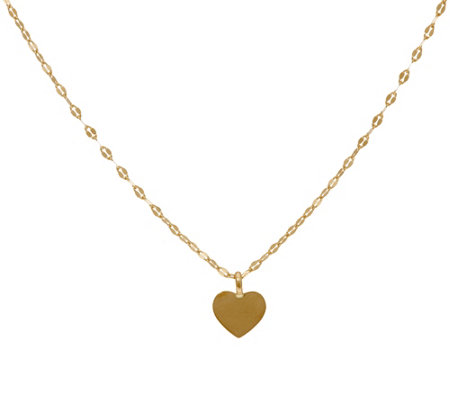14K Gold Polished Heart Choker Necklace 14K Gold